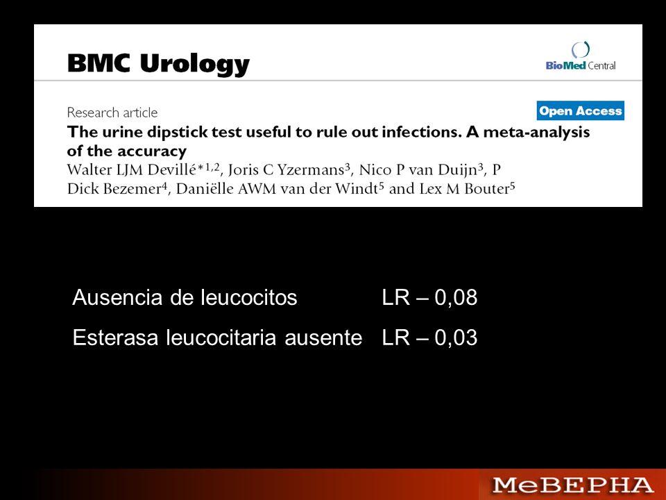 Ausencia de leucocitosLR – 0,08 Esterasa leucocitaria ausenteLR – 0,03