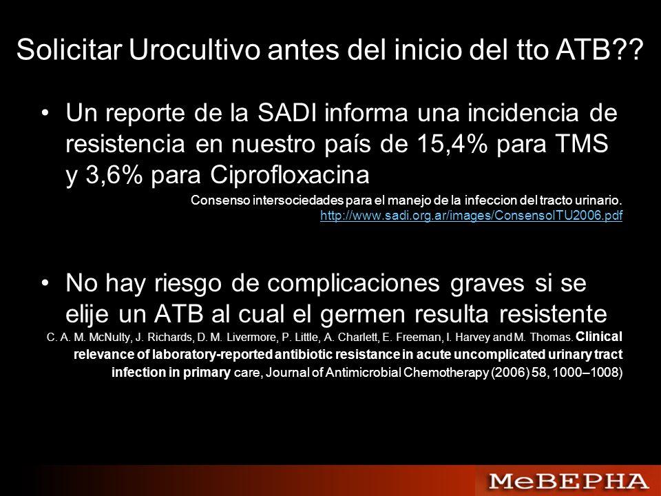 Solicitar Urocultivo antes del inicio del tto ATB?? Un reporte de la SADI informa una incidencia de resistencia en nuestro país de 15,4% para TMS y 3,