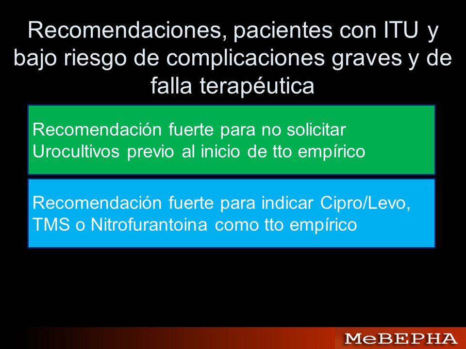 Recomendaciones, pacientes con ITU y bajo riesgo de complicaciones graves y de falla terapéutica Recomendación fuerte para no solicitar Urocultivos pr