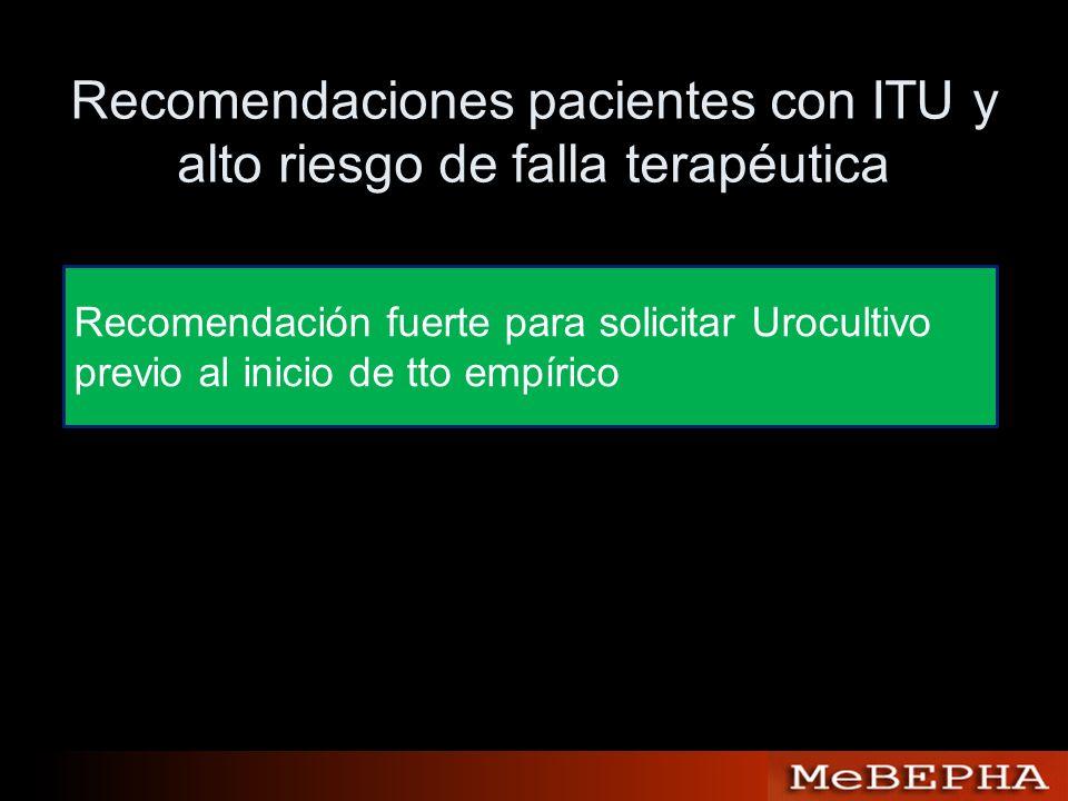 Recomendaciones pacientes con ITU y alto riesgo de falla terapéutica Recomendación fuerte para solicitar Urocultivo previo al inicio de tto empírico