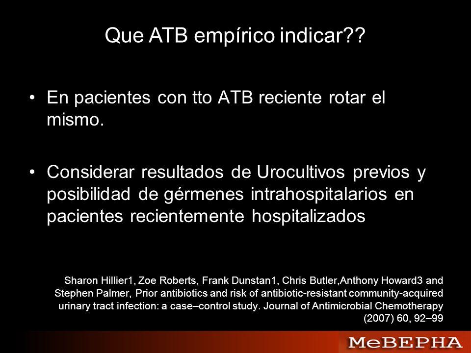 Que ATB empírico indicar?? En pacientes con tto ATB reciente rotar el mismo. Considerar resultados de Urocultivos previos y posibilidad de gérmenes in
