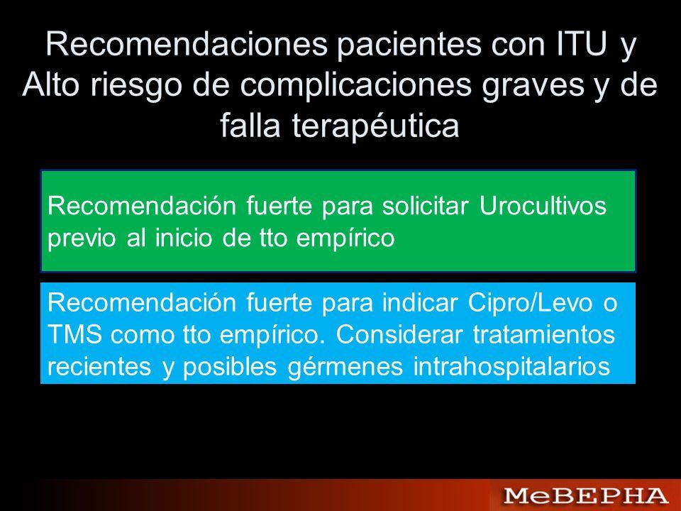 Recomendaciones pacientes con ITU y Alto riesgo de complicaciones graves y de falla terapéutica Recomendación fuerte para solicitar Urocultivos previo