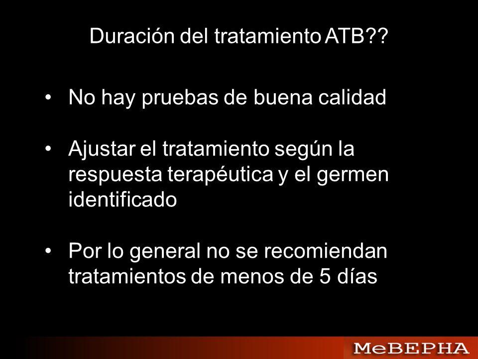 Duración del tratamiento ATB?? No hay pruebas de buena calidad Ajustar el tratamiento según la respuesta terapéutica y el germen identificado Por lo g