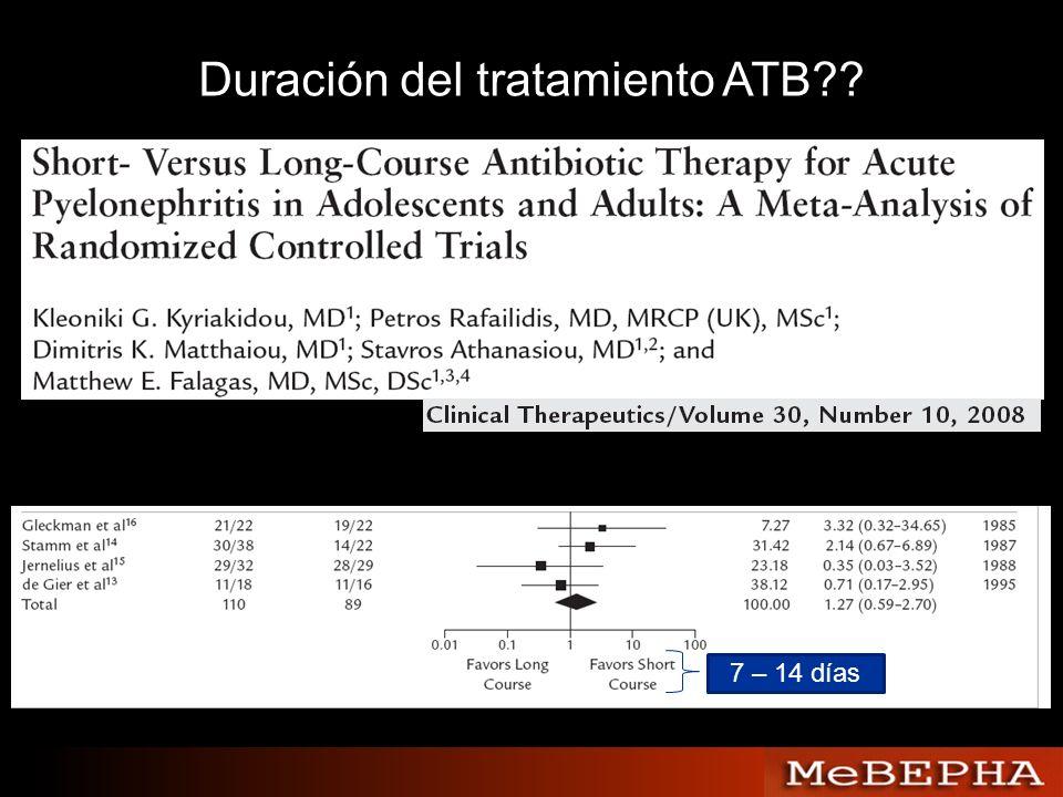 Duración del tratamiento ATB?? 7 – 14 días