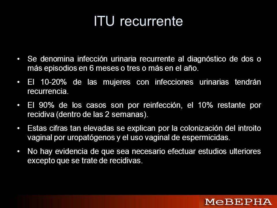 ITU recurrente Se denomina infección urinaria recurrente al diagnóstico de dos o más episodios en 6 meses o tres o más en el año. El 10-20% de las muj