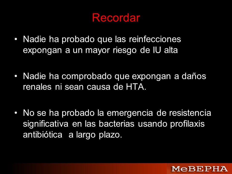 Nadie ha probado que las reinfecciones expongan a un mayor riesgo de IU alta Nadie ha comprobado que expongan a daños renales ni sean causa de HTA. No