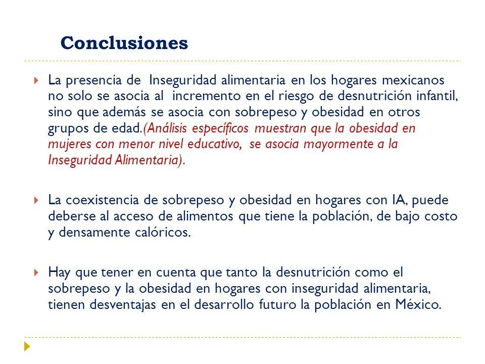 Conclusiones La presencia de Inseguridad alimentaria en los hogares mexicanos no solo se asocia al incremento en el riesgo de desnutrición infantil, s