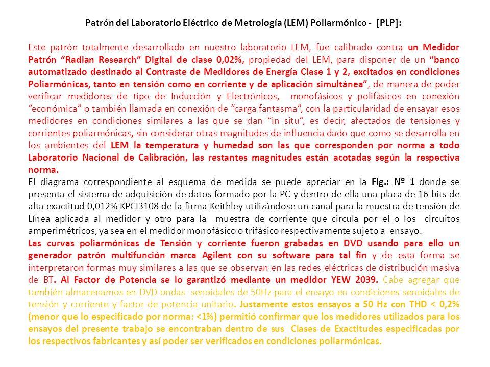 Patrón del Laboratorio Eléctrico de Metrología (LEM) Poliarmónico - [PLP]: Este patrón totalmente desarrollado en nuestro laboratorio LEM, fue calibra