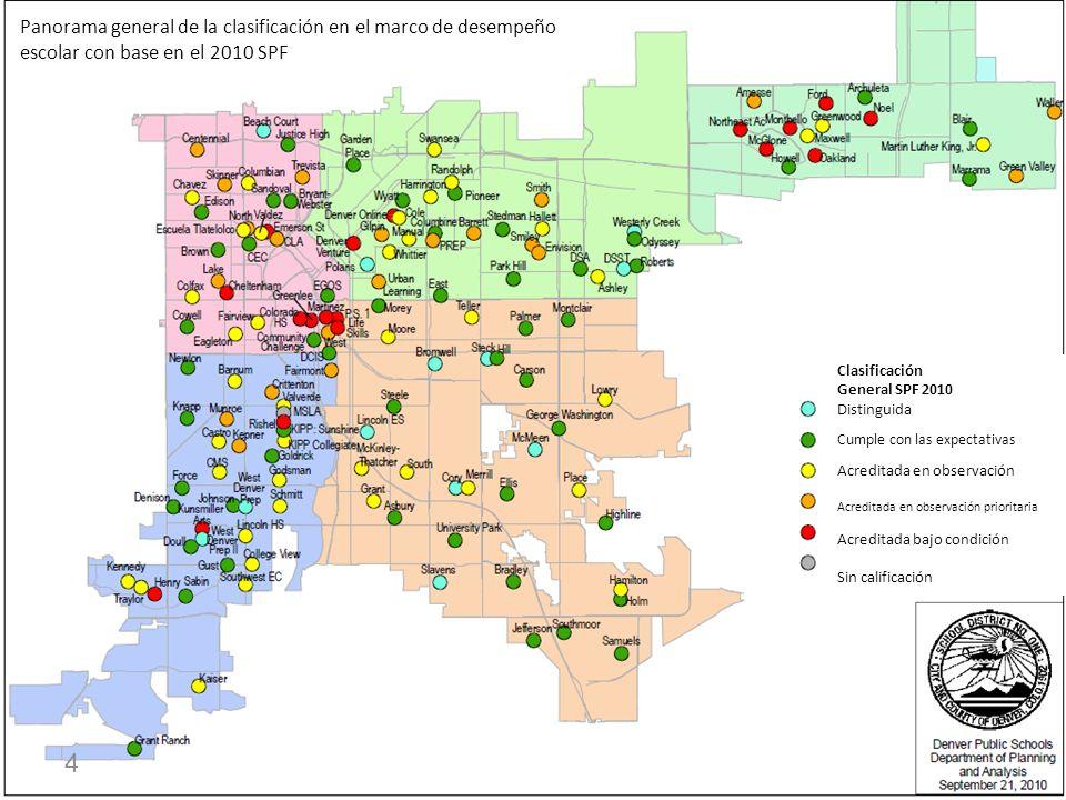 4 Panorama general de la clasificación en el marco de desempeño escolar con base en el 2010 SPF Clasificación General SPF 2010 Distinguida Cumple con