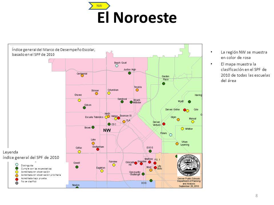 El Noroeste 8 La región NW se muestra en color de rosa El mapa muestra la clasificación en el SPF de 2010 de todas las escuelas del área NW Índice gen