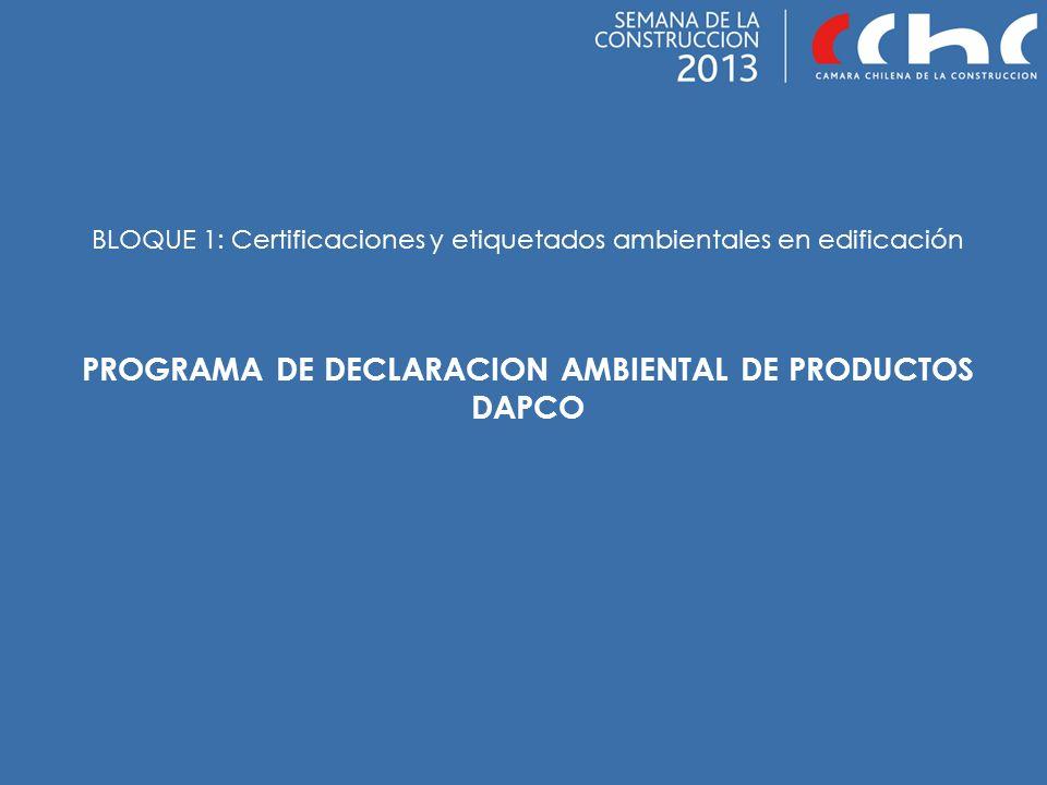 BLOQUE 1: Certificaciones y etiquetados ambientales en edificación PROGRAMA DE DECLARACION AMBIENTAL DE PRODUCTOS DAPCO