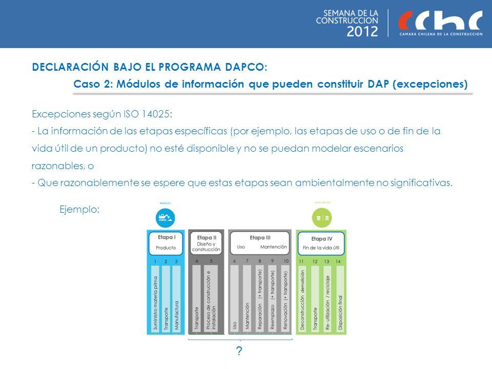 DECLARACIÓN BAJO EL PROGRAMA DAPCO: Caso 2: Módulos de información que pueden constituir DAP (excepciones) Excepciones según ISO 14025: - La informaci