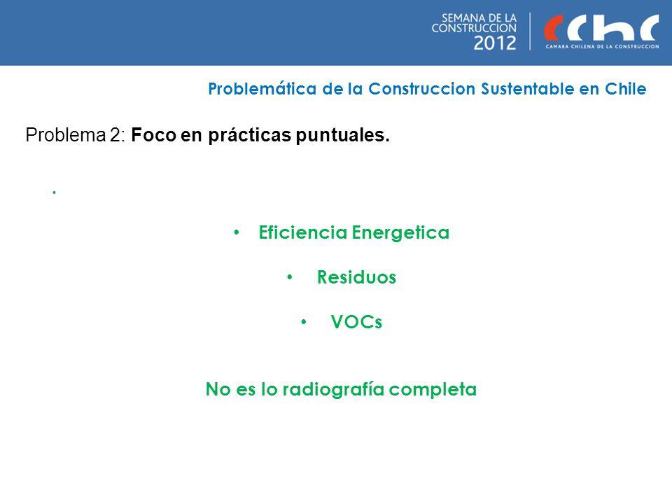 Problema 2: Foco en prácticas puntuales. Problemática de la Construccion Sustentable en Chile. Eficiencia Energetica Residuos VOCs No es lo radiografí
