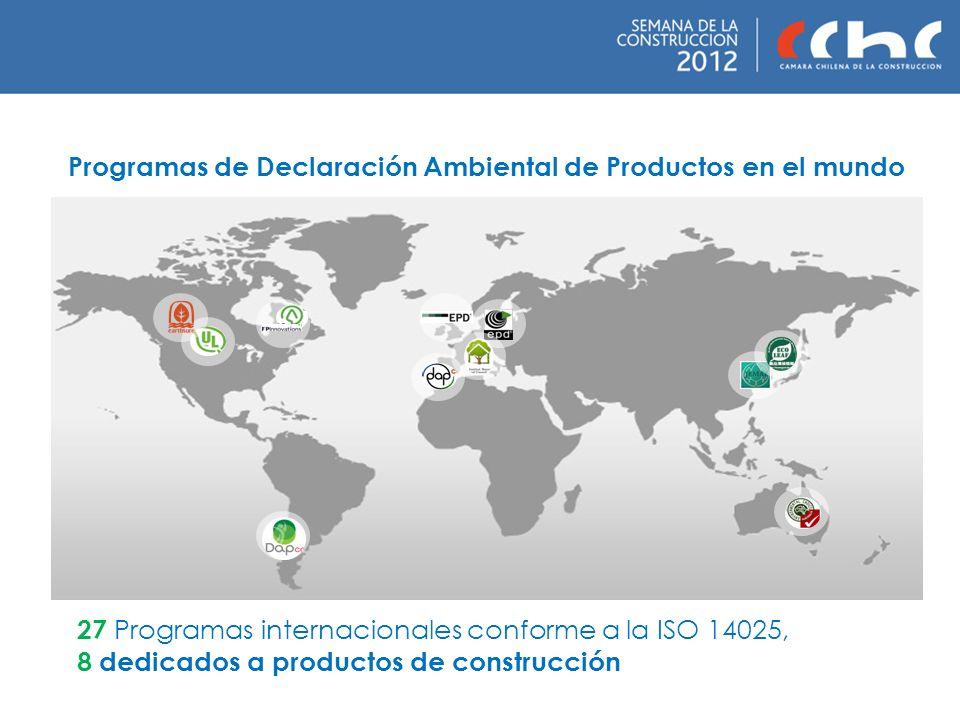 Programas de Declaración Ambiental de Productos en el mundo 27 Programas internacionales conforme a la ISO 14025, 8 dedicados a productos de construcc