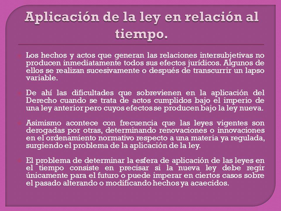 Los hechos y actos que generan las relaciones intersubjetivas no producen inmediatamente todos sus efectos jurídicos.