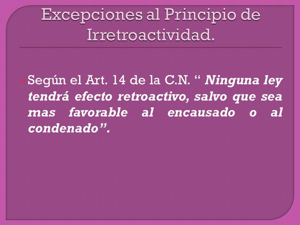 Según el Art. 14 de la C.N.