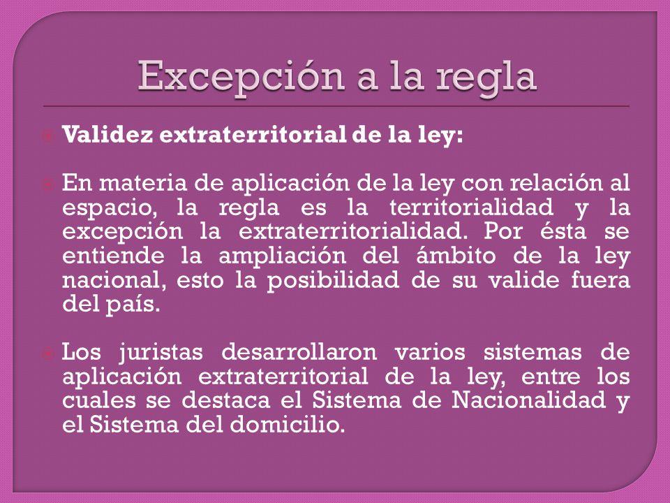 Validez extraterritorial de la ley: En materia de aplicación de la ley con relación al espacio, la regla es la territorialidad y la excepción la extraterritorialidad.