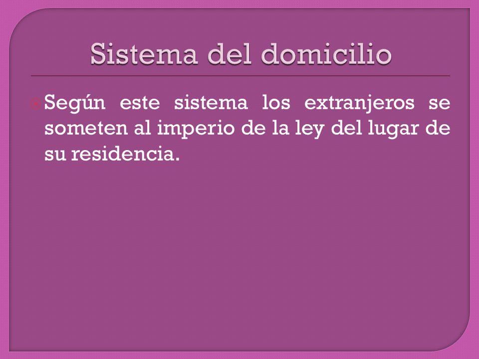 Según este sistema los extranjeros se someten al imperio de la ley del lugar de su residencia.