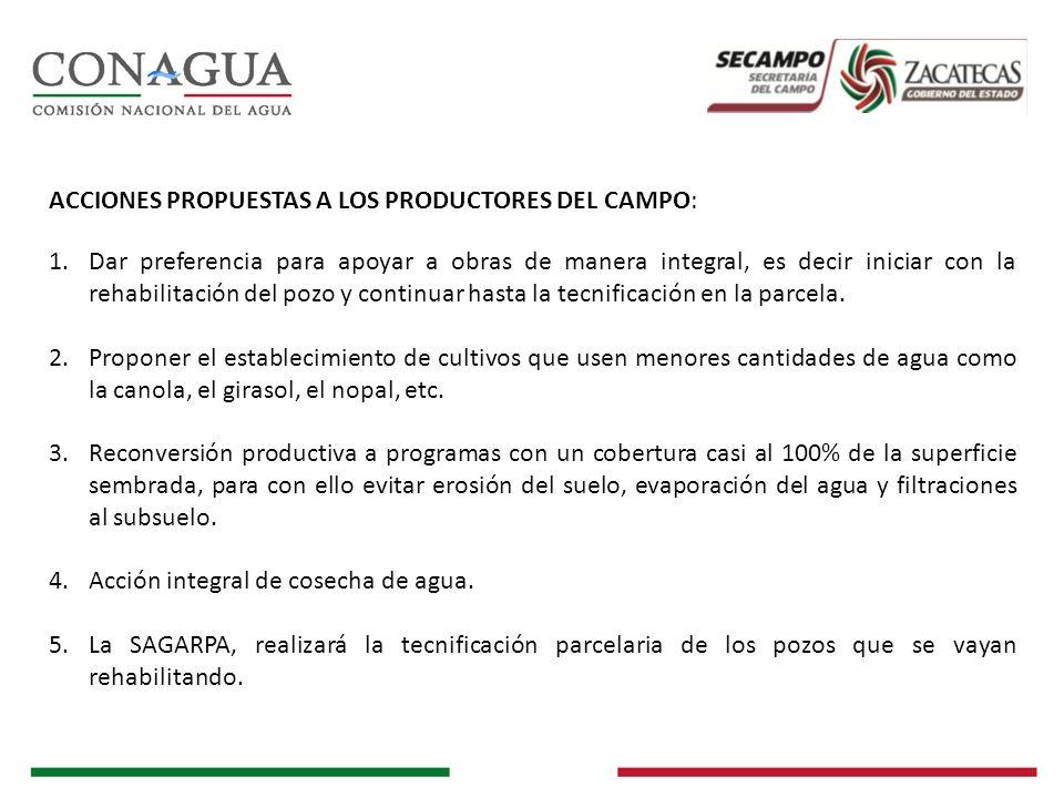 ACCIONES PROPUESTAS A LOS PRODUCTORES DEL CAMPO: 1.Dar preferencia para apoyar a obras de manera integral, es decir iniciar con la rehabilitación del