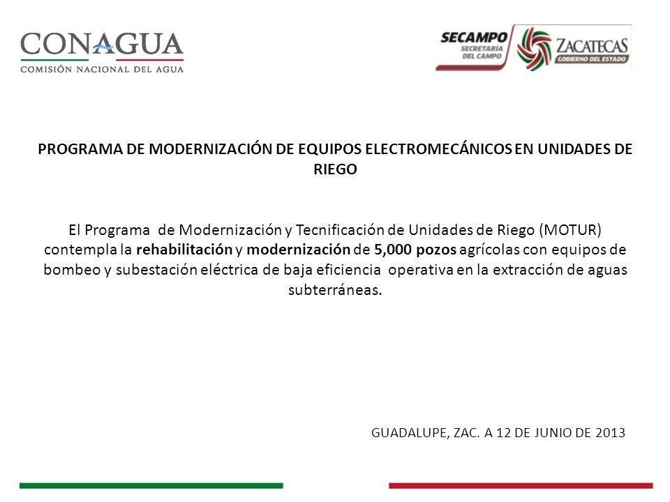 PROGRAMA DE MODERNIZACIÓN DE EQUIPOS ELECTROMECÁNICOS EN UNIDADES DE RIEGO El Programa de Modernización y Tecnificación de Unidades de Riego (MOTUR) c