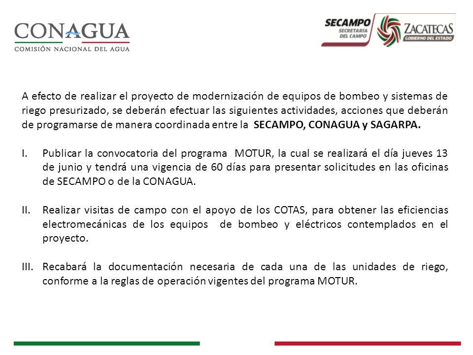 A efecto de realizar el proyecto de modernización de equipos de bombeo y sistemas de riego presurizado, se deberán efectuar las siguientes actividades