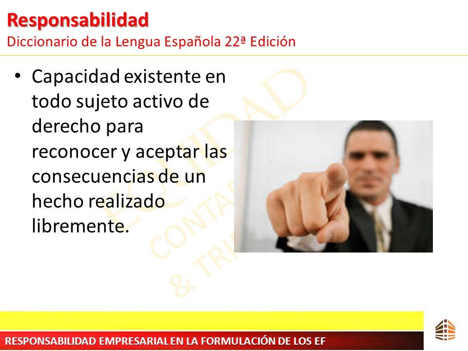 Responsabilidad Responsabilidad Diccionario de la Lengua Española 22ª Edición Capacidad existente en todo sujeto activo de derecho para reconocer y ac