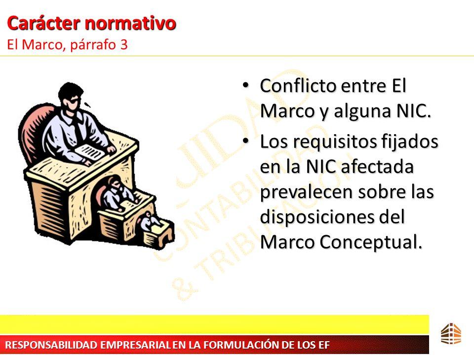 Carácter normativo Carácter normativo El Marco, párrafo 3 Conflicto entre El Marco y alguna NIC. Conflicto entre El Marco y alguna NIC. Los requisitos