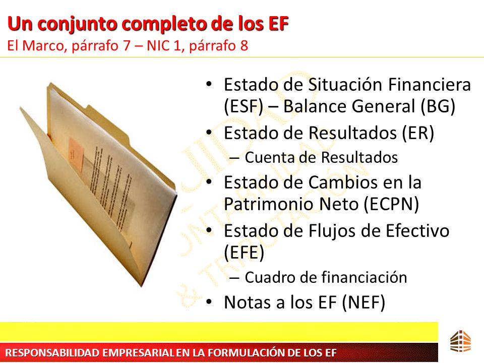 Un conjunto completo de los EF Un conjunto completo de los EF El Marco, párrafo 7 – NIC 1, párrafo 8 Estado de Situación Financiera (ESF) – Balance Ge