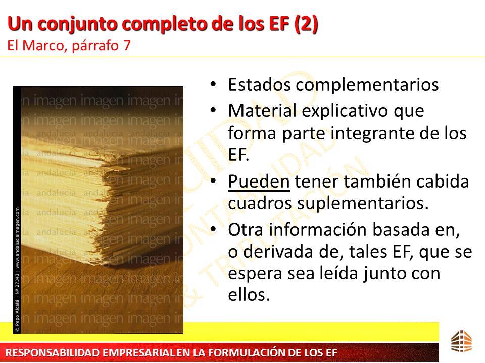 Un conjunto completo de los EF (2) Un conjunto completo de los EF (2) El Marco, párrafo 7 Estados complementarios Material explicativo que forma parte