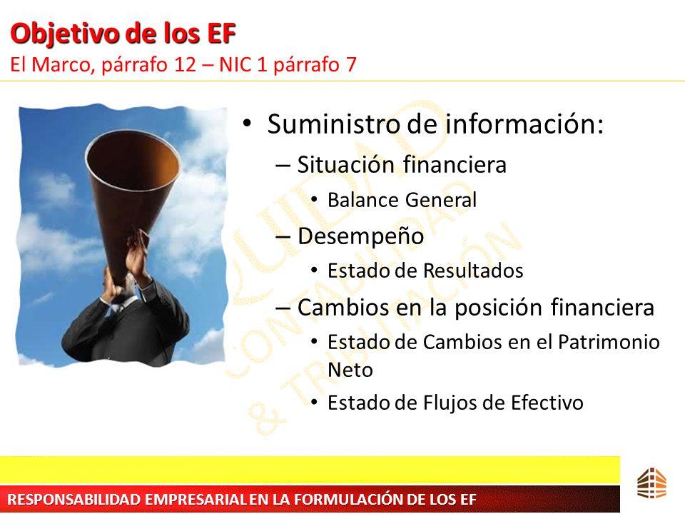 Objetivo de los EF Objetivo de los EF El Marco, párrafo 12 – NIC 1 párrafo 7 Suministro de información: – Situación financiera Balance General – Desem