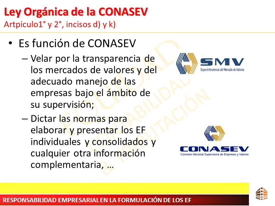 Ley Orgánica de la CONASEV Ley Orgánica de la CONASEV Artpiculo1° y 2°, incisos d) y k) Es función de CONASEV – Velar por la transparencia de los merc