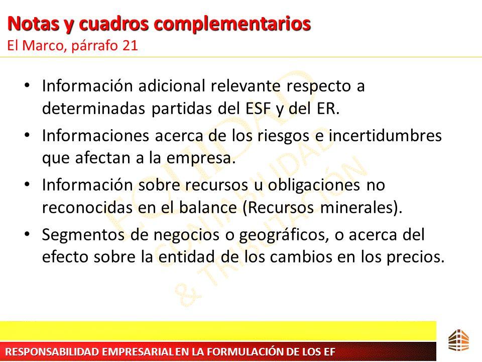 Notas y cuadros complementarios Notas y cuadros complementarios El Marco, párrafo 21 Información adicional relevante respecto a determinadas partidas