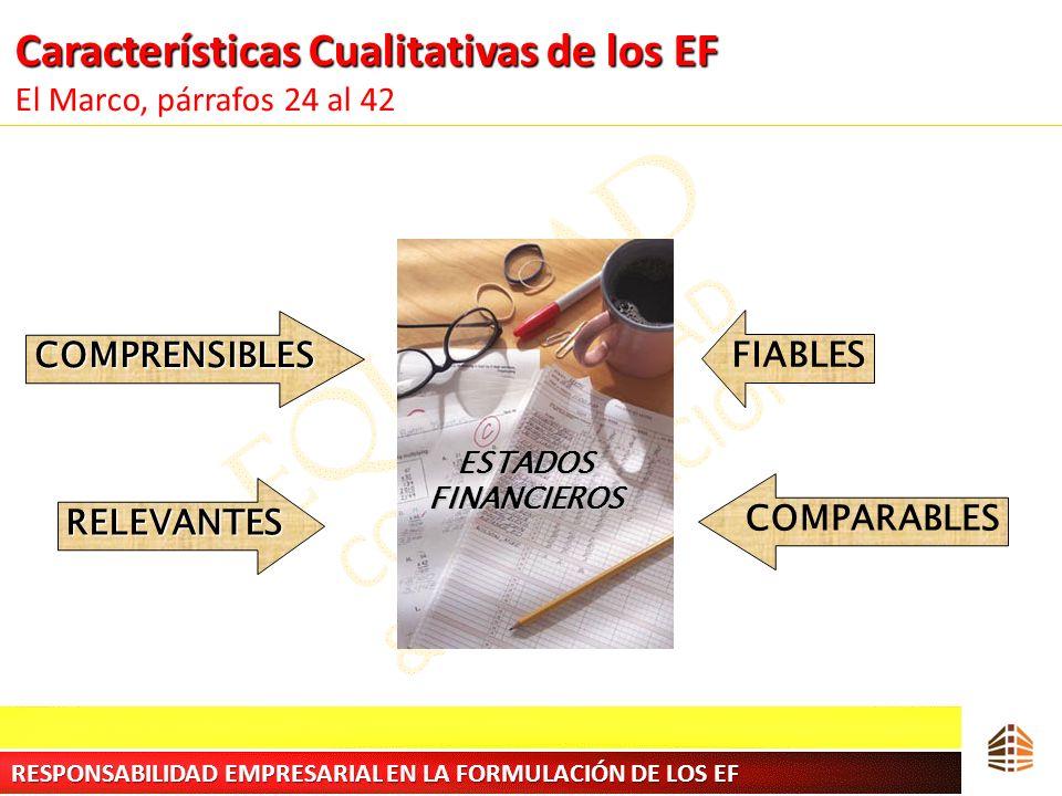 Características Cualitativas de los EF Características Cualitativas de los EF El Marco, párrafos 24 al 42 COMPRENSIBLES RELEVANTES FIABLES COMPARABLES