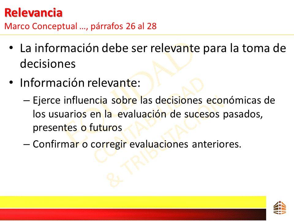 Relevancia Relevancia Marco Conceptual …, párrafos 26 al 28 La información debe ser relevante para la toma de decisiones Información relevante: – Ejer