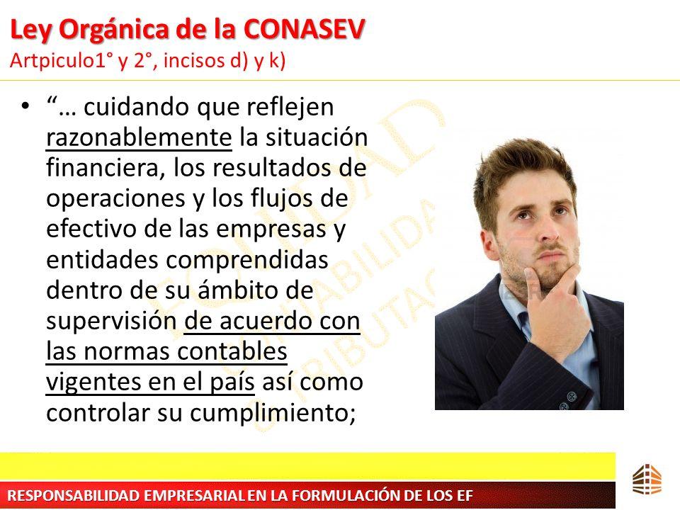 Ley Orgánica de la CONASEV Ley Orgánica de la CONASEV Artpiculo1° y 2°, incisos d) y k) … cuidando que reflejen razonablemente la situación financiera
