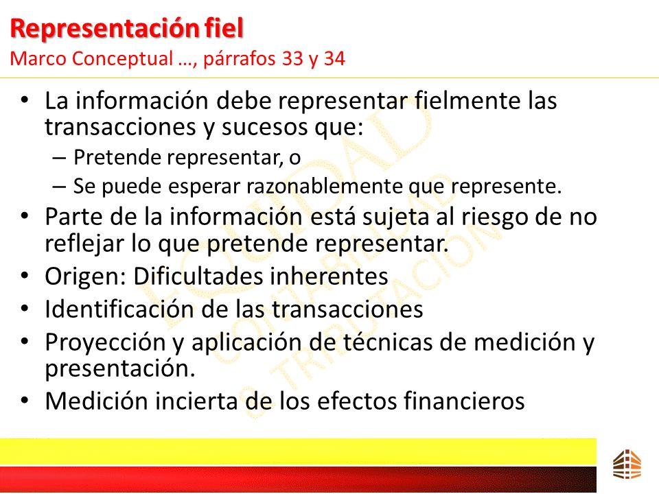 Representación fiel Representación fiel Marco Conceptual …, párrafos 33 y 34 La información debe representar fielmente las transacciones y sucesos que