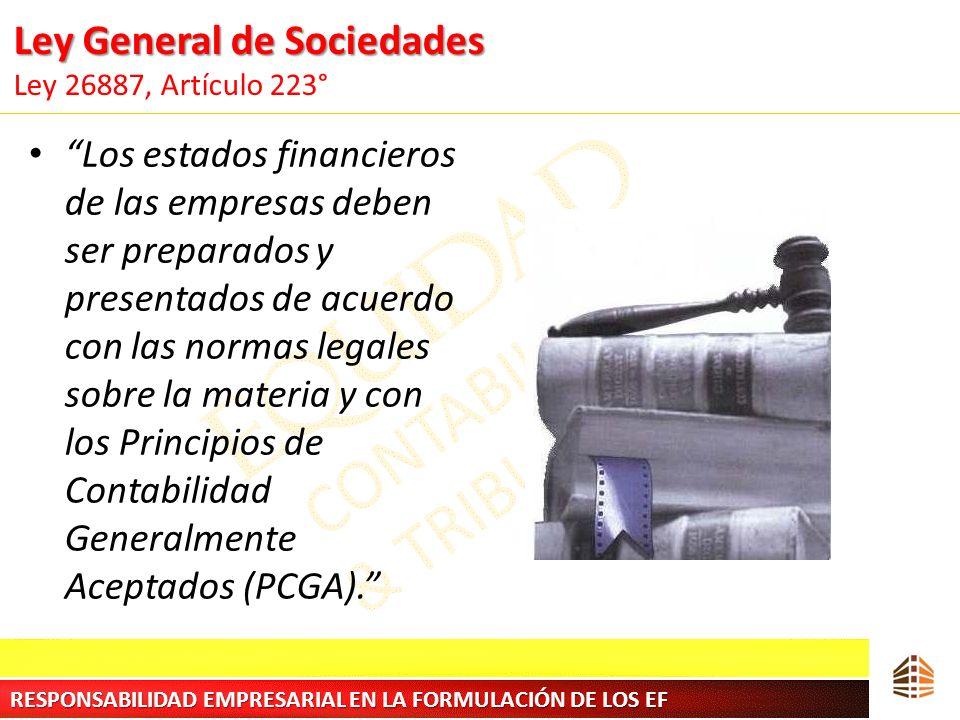 Ley General de Sociedades Ley General de Sociedades Ley 26887, Artículo 223° Los estados financieros de las empresas deben ser preparados y presentado