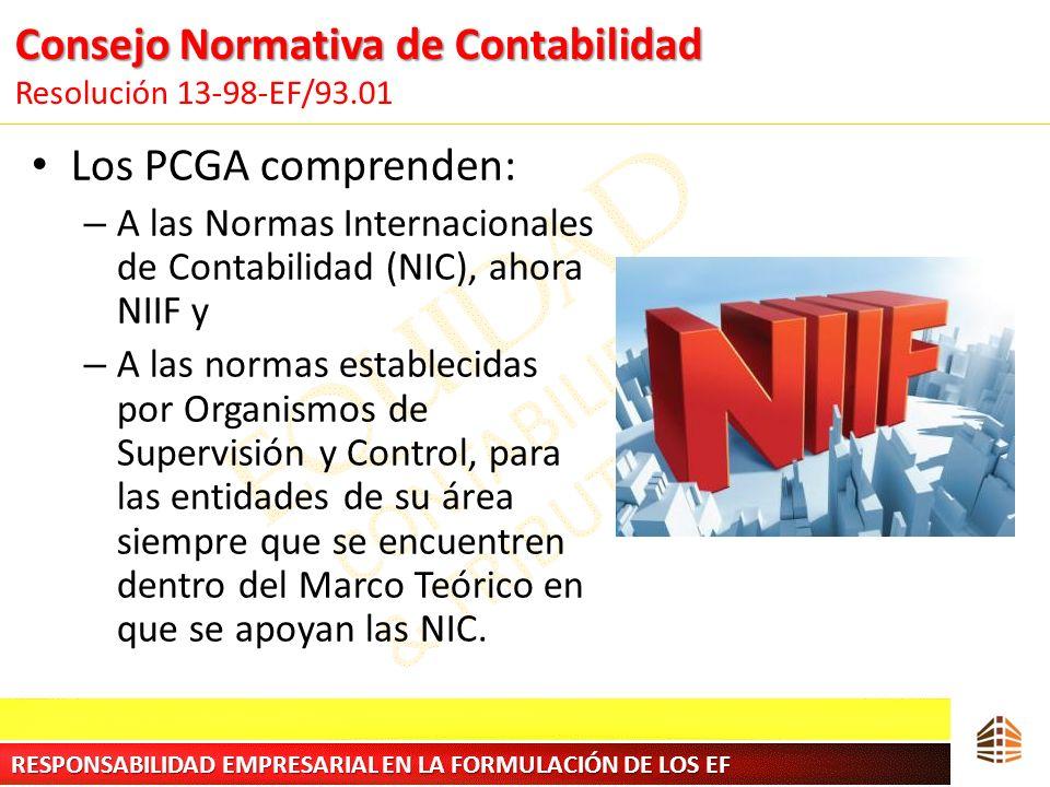 Consejo Normativa de Contabilidad Consejo Normativa de Contabilidad Resolución 13-98-EF/93.01 Los PCGA comprenden: – A las Normas Internacionales de C