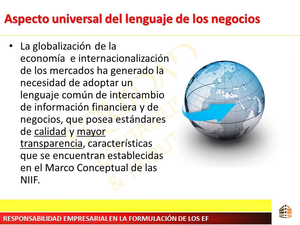 Aspecto universal del lenguaje de los negocios La globalización de la economía e internacionalización de los mercados ha generado la necesidad de adop