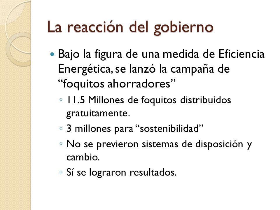 La reacción del gobierno Bajo la figura de una medida de Eficiencia Energética, se lanzó la campaña de foquitos ahorradores 11.5 Millones de foquitos distribuidos gratuitamente.