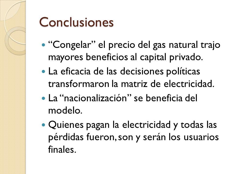 Conclusiones Congelar el precio del gas natural trajo mayores beneficios al capital privado. La eficacia de las decisiones políticas transformaron la