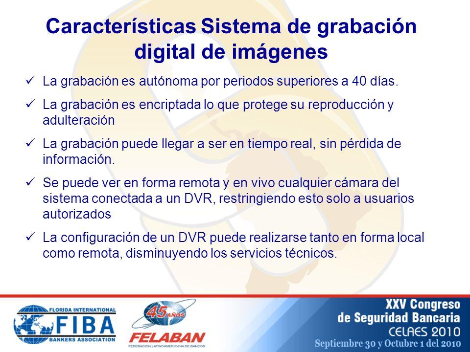 Características Sistema de grabación digital de imágenes La grabación es autónoma por periodos superiores a 40 días.