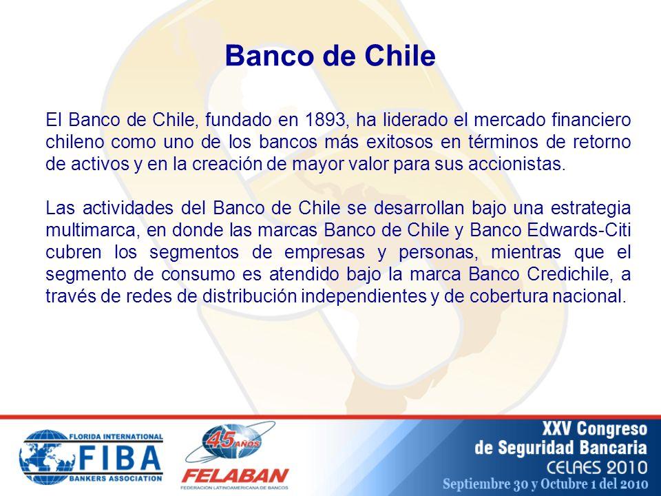 Banco de Chile El Banco de Chile, fundado en 1893, ha liderado el mercado financiero chileno como uno de los bancos más exitosos en términos de retorno de activos y en la creación de mayor valor para sus accionistas.