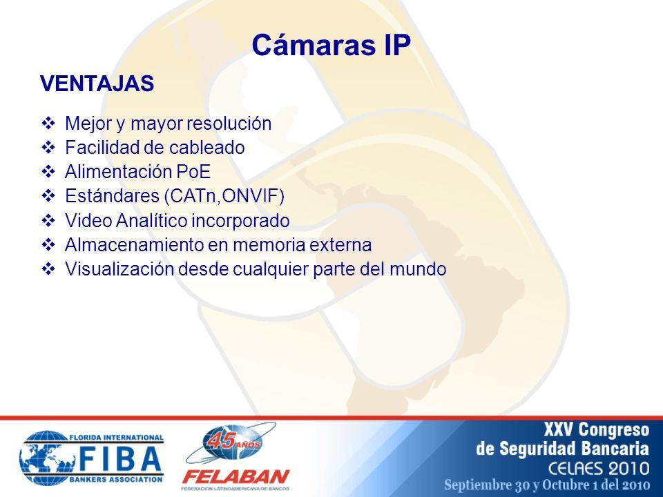Cámaras IP Mejor y mayor resolución Facilidad de cableado Alimentación PoE Estándares (CATn,ONVIF) Video Analítico incorporado Almacenamiento en memoria externa Visualización desde cualquier parte del mundo VENTAJAS