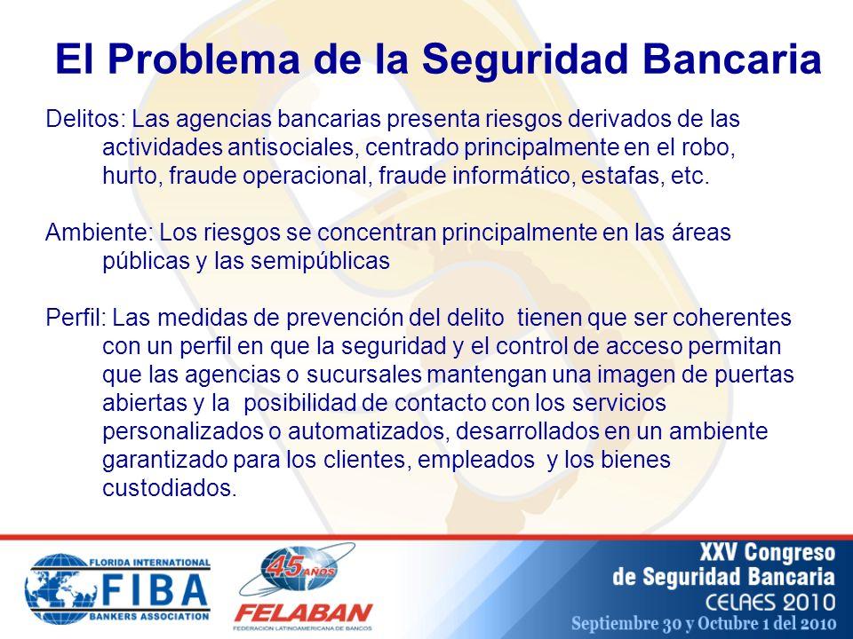 El Problema de la Seguridad Bancaria Delitos: Las agencias bancarias presenta riesgos derivados de las actividades antisociales, centrado principalmente en el robo, hurto, fraude operacional, fraude informático, estafas, etc.