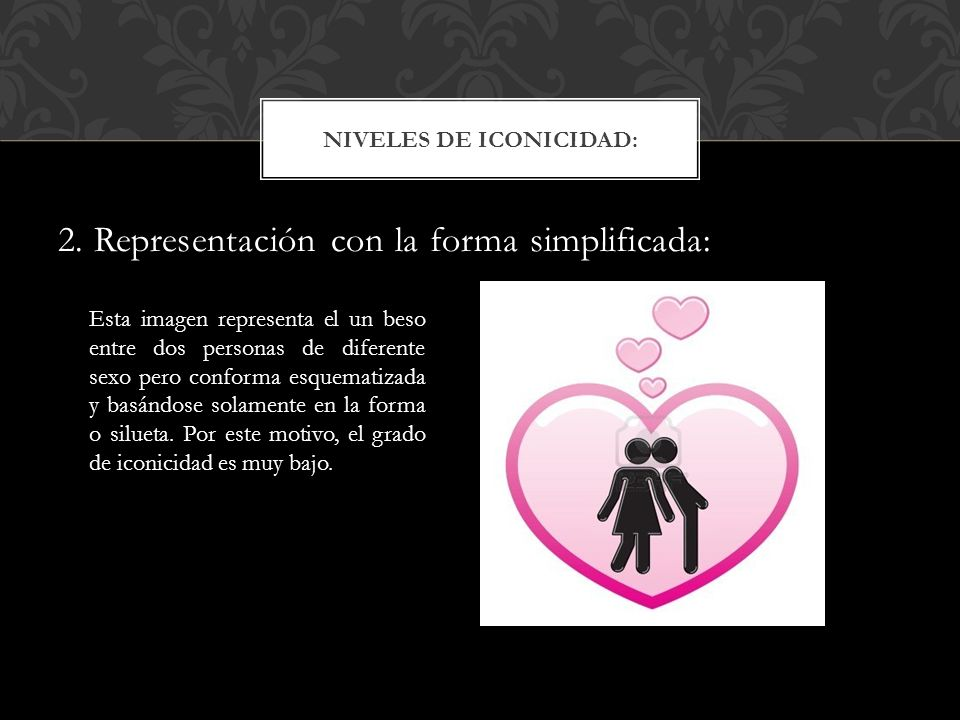 2. Representación con la forma simplificada: NIVELES DE ICONICIDAD: Esta imagen representa el un beso entre dos personas de diferente sexo pero confor