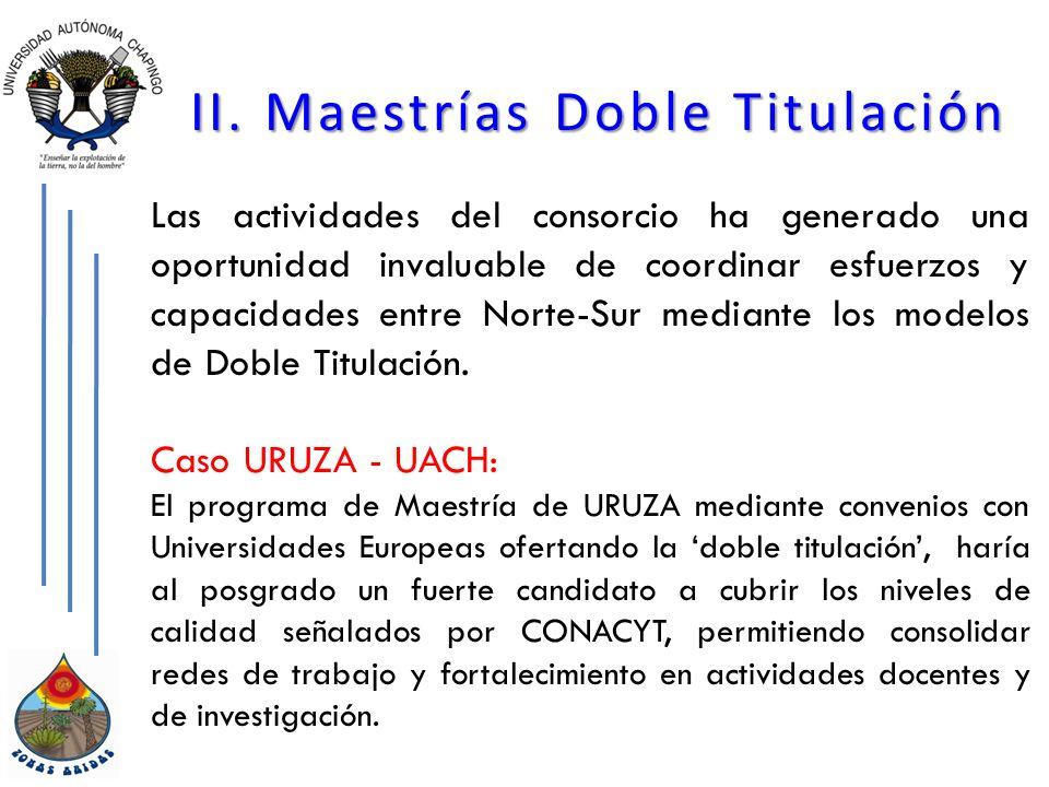 II. Maestrías Doble Titulación Las actividades del consorcio ha generado una oportunidad invaluable de coordinar esfuerzos y capacidades entre Norte-S