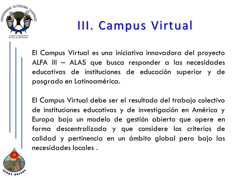 III. Campus Virtual El Campus Virtual es una iniciativa innovadora del proyecto ALFA III – ALAS que busca responder a las necesidades educativas de in