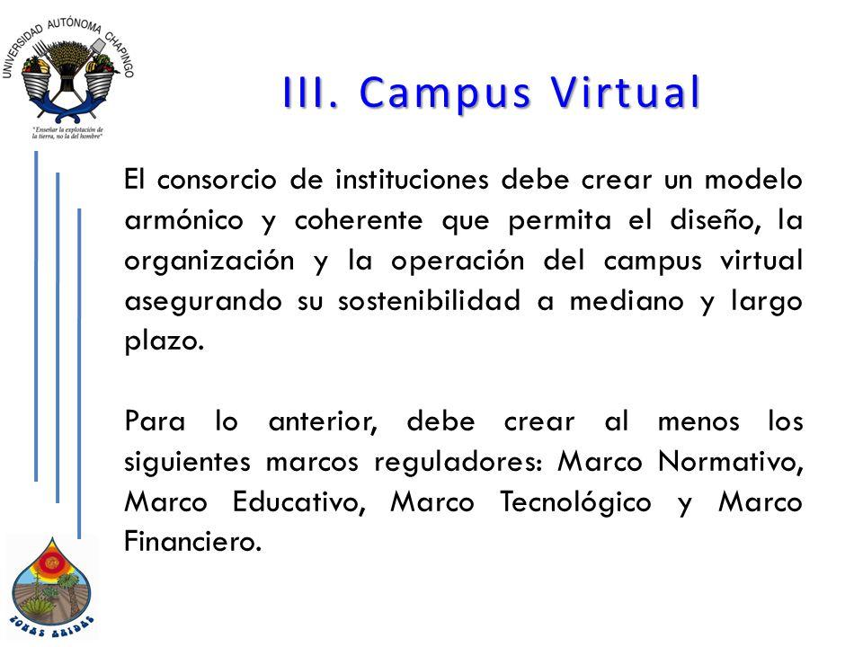 III. Campus Virtual El consorcio de instituciones debe crear un modelo armónico y coherente que permita el diseño, la organización y la operación del