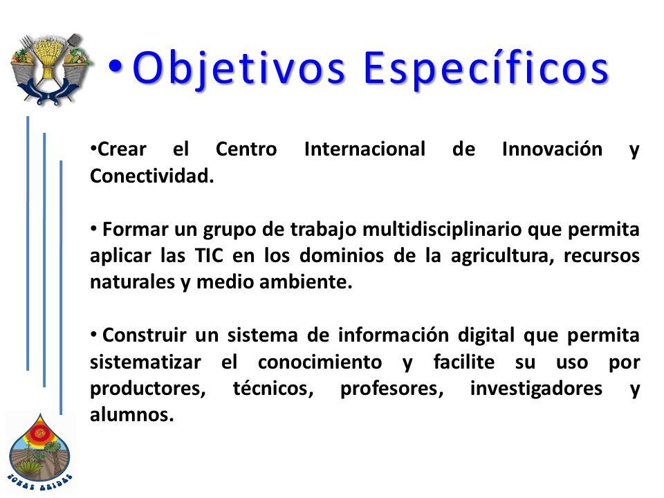 Objetivos Específicos Objetivos Específicos Crear el Centro Internacional de Innovación y Conectividad.